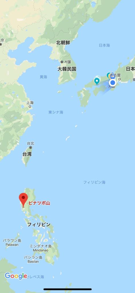 日本より南に約2937km先のフィリピンはルソン島西側にある火山ピナトゥボ山
